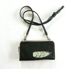 Black Leather Clutch Wallet with Detacheable by bonspielcreation, $72.00