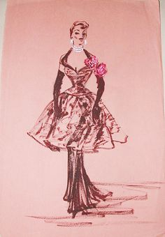 Edith Head sketch (production unknown) circa 1955