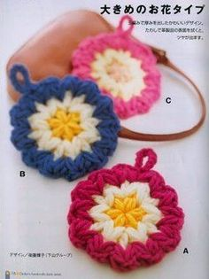 It is a website for handmade creations,with free patterns for croshet and knitting , in many techniques & designs. Mandala Au Crochet, Crochet Diy, Crochet Motifs, Crochet Potholders, Crochet Round, Crochet Home, Crochet For Kids, Crochet Doilies, Crochet Granny