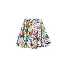 Jeremy Scott Scribbled Skirt ($195) ❤ liked on Polyvore featuring skirts, multi, cotton skirts, floral print a-line skirt, pleated mini skirt, patterned mini skirt and pleated skirt