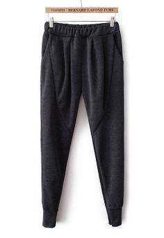 Black Elastic Waist Pockets Loose Pant N.Kr.136.14