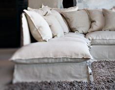 off white linen sofa