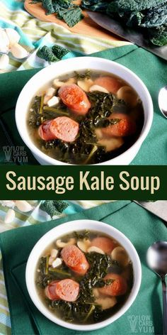 You Have Meals Poisoning More Normally Than You're Thinking That This Low Carb Keto Sausage Kale Soup With Mushroom Recipe Is Cooked In A Chicken Bone Broth Base. It Makes A Quick Heartwarming Meal. Kale Soup Recipes, Mushroom Recipes, Lunch Recipes, Breakfast Recipes, Healthy Recipes, Healthy Soups, Quick Soup Recipes, Dinner Recipes, Protein Recipes