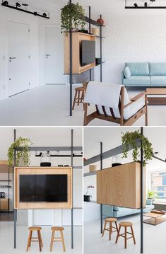 It's time to take a look at creative micro-apartments, room dividers, privacy tents, and dog beds. Living Room Partition Design, Living Room Divider, Room Partition Designs, Small Room Divider, Open Kitchen And Living Room, Small Living Rooms, Home Living Room, Minimalist Room, Minimalist Home Interior