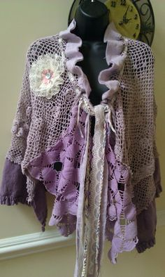 Shawl, cape, wrap in dusky purple, hand pieced, tattered vintage crochet & ruffled linen, shabby cottage chic, $32