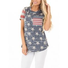 Choies Polychrome American Flag Short Sleeve T-shirt ($17) ❤ liked on Polyvore featuring tops, t-shirts, multi, usa flag t shirt, american flag top, american flag tee, short sleeve t shirt and american flag t shirt