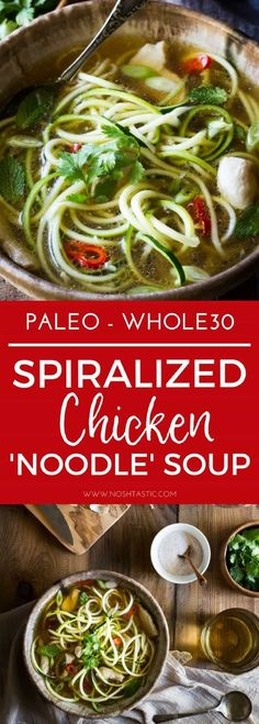 Paleo Chicken Noodle Soup with zucchini noodles (or zoodles) made in 20 MINUTES! It's packed with flavor, is healthy, low carb, whole30 and gluten free too! #paleo #w30 #whole30 #zoodles #spiralizer #zucchininoodles #paleosoup #paleo #chickensoup #w30soup #whole30soup #zucchini