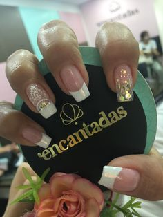 Uñas Love Nails, My Nails, Diamond Nails, Nail Decorations, French Nails, White Nails, Manicure And Pedicure, Summer Nails, Nail Art Designs