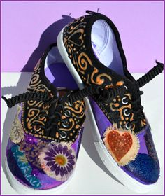 Sneakers Shabby Chic Kids Sneakers Custom Sneakers by PricklyPaw, $37.50