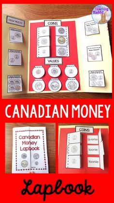 This Canadian Money Lapbook can be a fun activity for Grade 1 students to help them learn the coin names, values, and add money amounts up to 20 cents. Money Activities, Money Games, Math Resources, Learning Activities, 1st Grade Math, Grade 1, Teaching Money, Teaching Ideas, Teaching Math