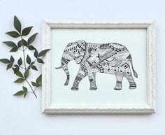 Elephant Print  geometric/tribal black and white elephant
