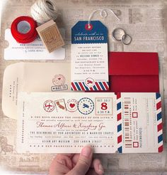Vintage Travel Destination Wedding Airline Boarding Pass Invitation. An Elegant Airplane Theme with Custom Personalization.