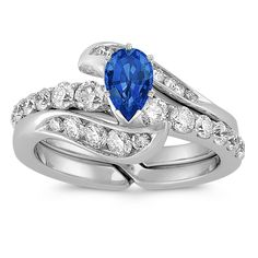 Swirl Diamond Wedding Set in 14k White Gold