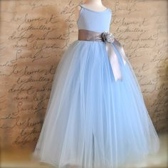 Powder Blue Flower Girl Tutu Sewn long tulle by TutusChicBoutique