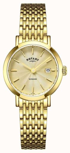 Rotary Watch Windsor Ladies Watch available to buy online from with free UK delivery. Rotary Watches, Moise, Elegant Watches, Gold Plated Bracelets, Traditional Design, Quartz Crystal, Gold Watch, Bling, Lady