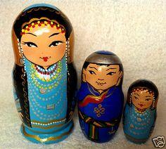 "Handmade Wooden Matryoshka Nesting Doll 10cm 4"" in Ethnic Costume of Buryatia   eBay"