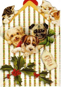 Postcrossing US-1986505 - Vintage Victorian Christmas card with cats and dogs…