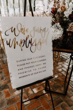 Acrylic unplugged ceremony sign with gold foiled hand lettering, modern calligraphy, boho modern wedding signage Unplugged Wedding Signs Wedding Ceremony Ideas, Wedding Signage, Wedding Events, Our Wedding, Dream Wedding, Modern Wedding Ideas, Rustic Wedding, Wedding Tips, Fall Wedding