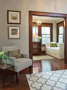 Gorgeous wood trim! Such a simple style but it brings so much warmth to the space.