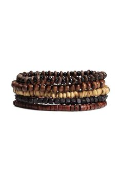 5-pack bracelets: Elastic bracelets with wooden beads.