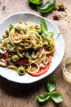 Garden Fresh Herb, Olive, and Parmesan Pasta with Pistachio Breadcrumbs