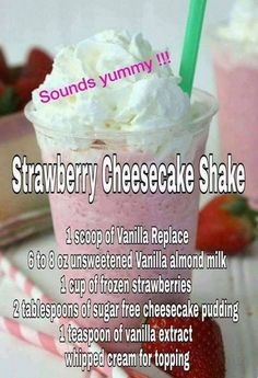 STRAWBERRY Cheesecake - Another yummy recipe with our vanilla rePLACE! Hit Visit and go into buy now to see pricing! STRAWBERRY Cheesecake - Another yummy recipe with our vanilla rePLACE! Hit Visit and go into buy now to see pricing! Protein Smoothies, Smoothie Proteine, 310 Shake Recipes, Protein Shake Recipes, Smoothie Recipes, Low Carb Protein Shakes, Vanilla Protein Shakes, Healthy Shakes, Drink Recipes