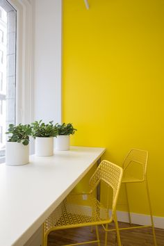 Yellow and White: Refreshing and revitalizing, yellow and white can create a restful but warm and welcoming room. Extra helpful for a space that does not receive a lot of natural light, this refreshing combination works for both traditional and modern looks. #house #interiordesign #home #decorating #decoratingtips #paint #painting #yellow #white #classiccombination #office