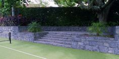Bombay stone tennis court steps