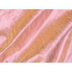 Pink Citrus Gold Iridescent Dupioni Silk Fabric