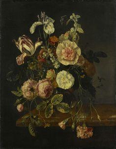 Stilleven met bloemen, Jacob van Walscapelle, 1670 - 1727 - beautifull floral painting (still life, 17th century). Rijksmuseum Amsterdam