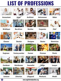 List of Jobs: List of 60 Popular Professions & Jobs in English - English Study Online English Vocabulary Words, English Words, English Grammar, Teaching English, English Language, English Study, English Class, English Lessons, Learn English