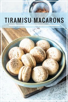 Espresso flavored shell filled with a sweet boozy mascarpone cheese frosting, with dusted cocoa powder on top. Baking Recipes, Cookie Recipes, Dessert Recipes, Tea Cakes, Just Desserts, Delicious Desserts, Macaron Flavors, Macaron Filling, Macaroon Cookies