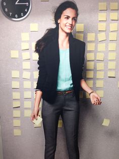 Black blazer, grey pants, mint top. Spring work outfit. Found this pic at Target but I already have all the peices. Pinning so I remember to pair them together.