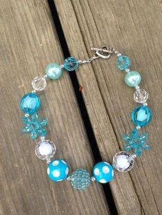 Frozen snowflake chunky bead necklace  Elsa frozen by CEBowtique, $12.00
