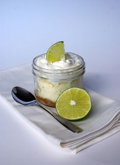 Microwave Lime Cheesecake - these little cheesecakes are ridiculously easy (you can whip these up in seven minutes — including cooking time), super tasty and highly transportable (because they are made in mason jars). Single Serve Desserts, Just Desserts, Delicious Desserts, Dessert Recipes, Yummy Food, Dessert Ideas, Mug Recipes, Cooking Recipes, Cooking Time