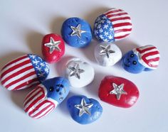 PAINTED PATRIOTIC ROCKS New Twist on the flag and Red White and Blue by karneskreations on Etsy Stone Crafts, Rock Crafts, Arts And Crafts, Pebble Painting, Stone Painting, Hand Designs, Flower Designs, 4th Of July Songs, Craft Activities For Kids