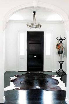 black and white cowhide rug   living room   Pinterest   White ... on hide bar ideas, hide jewelry ideas, hide tv ideas,