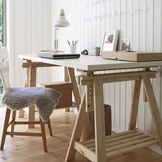 Preview Ikea Linnmon White Desk Table 59x30' with 2 Beech Wood Brown Trestle…