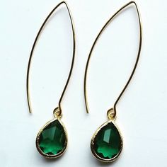 Gorgeous emerald green faceted crystal glass drop dangle from elegant marquise earwire. Very lightweight and super chic! Perfect for day to evening Glam! Handmade Gold-plated brass 2.3 inches Brass Cr