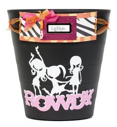 Dress up your girls bedroom decor with this spunky garbage can created with the Rock Princess, Accent Essentials, and Plantin SchoolBook cartridges! #cricut