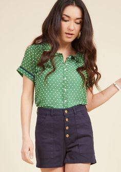 Darling in Dots Button-Up Top in Clover in S, #ModCloth