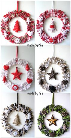 Couronne de Noël  en tissus / Xmas wreath - made by iSa                                                                                                                                                                                 Plus