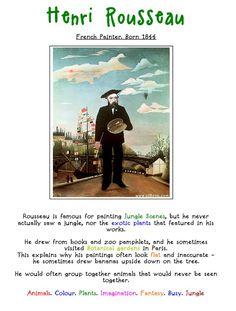 Henri Rousseau. Artist Fact Sheet. Henri Rousseau, Classroom Art Projects, School Art Projects, Art Classroom, Art Handouts, Art Education Resources, Art History Lessons, Jungle Art, 3rd Grade Art