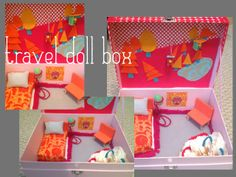 brightly colored travel doll house...  this is cute!  I'm sure I will NEVER get to it...  but I'm pinning it because I LIKE the idea, and I WANT to give it a shot...  or at least a version of this.  :0)