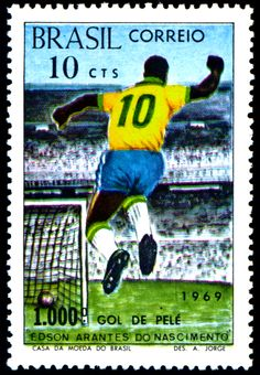 Pele (Brazil) stamp for world cup.