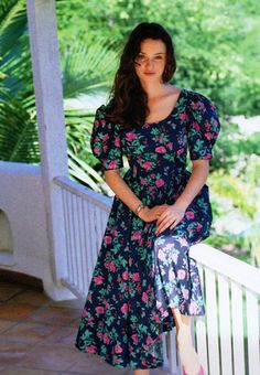 Laura Ashley, summer 1990. Floral dress with V-back and bow.