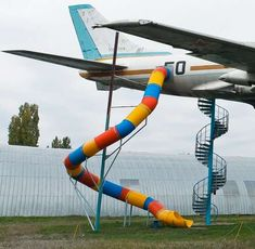 Airplane Playground Equipment - This Giant Slide Extends from the Side of a Tupolev Tu-124 Jet (GALLERY)*