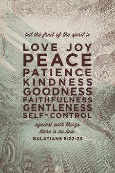 GALATIANS 5:22-23 22 But the fruit of the Spirit is love, joy, peace, patience, kindness, goodness, faithfulness, 23 gentleness, self-control; against such things there is no law.