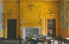 Chinese room in Gunston Hall byWm Buckland for George Mason. Chromium yellow and cream and navy paper
