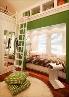 Cách bố trí các kiểu tủ kệ tạo ra góc nhỏ xinh xắn là nơi ngủ của trẻ.